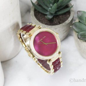 Michael Kors Parker Ladies Gold Tone Red Watch